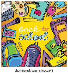 Back to school big doodles set. Hand drawn with ink. Vector illustration.Freehand drawing school items. Back to School.