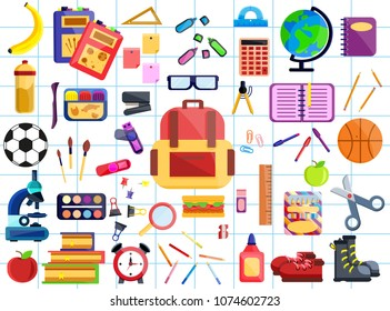 Back to school big set. First day in school. Different school supplies, stationery Modern flat vector illustration icons. Isolated on white. Paint, pencils, notepad, bag, microscope, globe, apple, pen