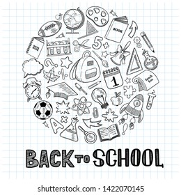 Back to school. Big set of hand drawn school elements in flat outline style and lettering on a sheet of paper. Concept of education. Create poster, cover, card, print, banner.