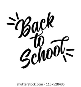 Back to school - black typography design. Good for clothes, gift sets, photos or motivation posters.
