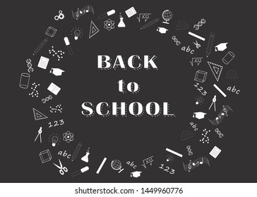 Back to school black and white circle design