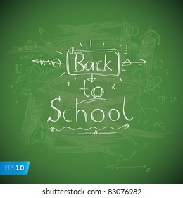 Back to School blackboard background. Vector eps10 illustration.