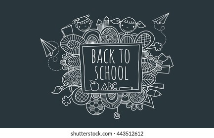 Back to School Blackboard Hand Drawn Doodle Vector Illustration with the words back to school on a chalk board surrounded by abstract shapes, swirls, pencils, kids, paper planes, books, and hands