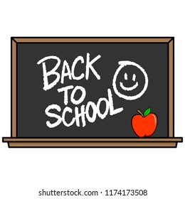 Back to School Blackboard with Smiley - A vector cartoon illustration of a Back to School Blackboard with Smiley concept.