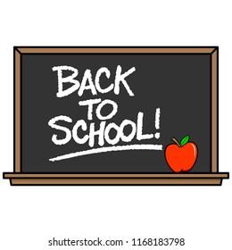 Back to School Blackboard - A vector cartoon illustration of a school Blackboard with an Apple.