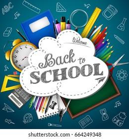 Back to school. Blue chalkboard with school supplies