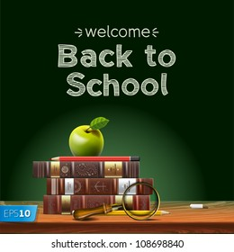 Back to school, school books with apple on desk, vector Eps10 illustration