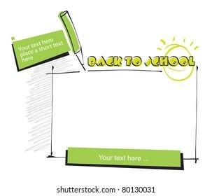 back to school border (blank area)
