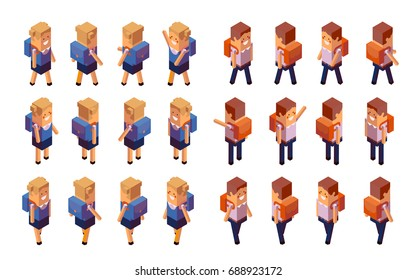 Back to school, boy, girl. Creative people collection. 3d schoolchildren in school uniform with a knapsack stands and goes. Set of isometric characters. Vector illustration isolated on white