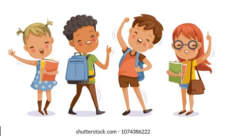 Back to school. boy and girl,With the thumb up to the hand that symbolic hand.Kids and friends at school on the first day of school.Children with student bags and books.cute character.Happy smile.