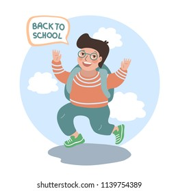 Back to school. Boy with glasses and a briefcase jumping for joy. Vector cartoon illustration. Isolated.