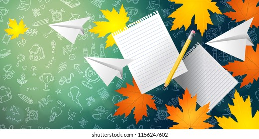 Back to school. Bright maple leaves, lined paper, pencil and paper airplane on  background of chalkboard. hand drawn elements pattern. Vector background, horizontal banner