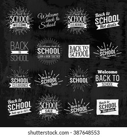 Back to School Calligraphic Designs Label On Chalkboard. Retro Style Elements. Chalk lettering Back to School. Vintage Style Back to School Hot Deals Design Layout In Vector. Logo Lettering poster.