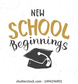 Back to School Calligraphic Lettering. Calligraphy Lettering with School Elements, sketch doodles. Hand Drawn Text Vector illustration .