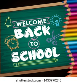 Back to school card with cartoons on blackboard and colors pencils - vector editable illustration image