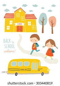 Back to school card design. Kids going to school. Cute boy and girl with school building and school bus. Cartoon vector clip art eps 10 illustration on white background. Hand lettering.