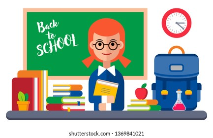 Back to School Card with Girl and Books. Vector Illustration. Flat Graphic Style. Decorative Design for Educantion, Classes, Invitations, Celebrations, School Equipment