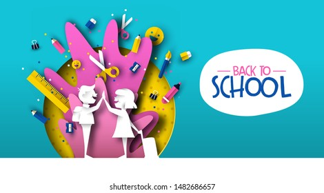 Back to school card illustration of happy kid friends in papercut style with colorful paper art supplies. Fun education event design.
