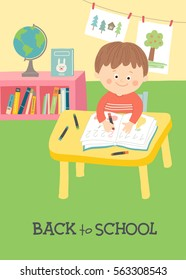 Back to school card, poster design. Cute child in school classroom sitting at desk and writing. Children drawing in art class. Cartoon vector hand drawn eps 10 illustration in flat style.
