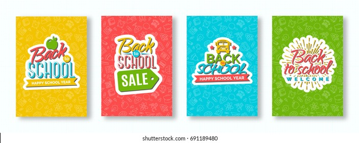 Back to school card set with color emblems consisting of school bus, apple, sunburst and sign welcome and happy school year on different background consisting of school supplies.