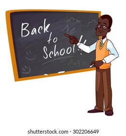 Back to school. Cartoon African American teacher stands near the school board. Vector illustration on a white background.