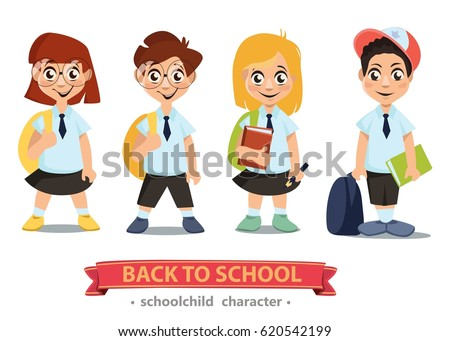 back school cartoon characters girls boys stock vector royalty free