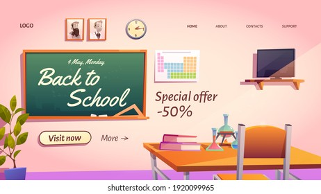 Back to school cartoon landing page with special promo sale offer. Empty classroom with chemistry studying stuff or textbooks on student desk and blackboard, vector web banner, price off advertisement