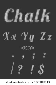 """Back to school"" chalk font set, fourth part, letters and symbols."