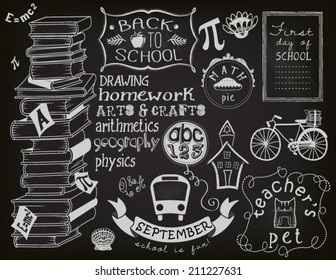 Back to school chalkboard, objects and symbols, including books, teacher's pet, bus, cartoon building, apple, bike and different frames and swirls