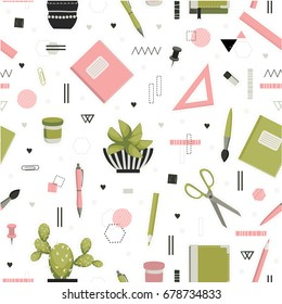 Back to school. Chancellery, office, education. Cute seamless pattern. All elements are  hidden under mask. Pattern are not cropped and can be edited