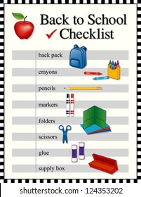 Back to School Checklist,  supplies. Backpack, crayons, pencils, markers, folders, scissors, glue, supply box, big red apple for the teacher. Black and white check frame. EPS8 compatible.