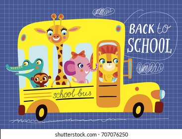 Back to school. Childish illustration on a blue background. School bus in vector.