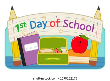 """Back to school clip-art with lunchbox, notebook, apple and banner that says """"First day of school"""". Eps10"""
