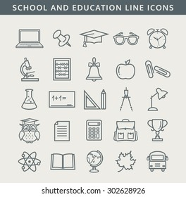 Back to school. Collection of school and education icons. Line symbols set. Vector illustration.