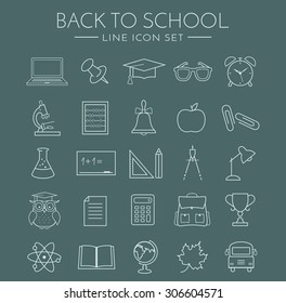 Back to school. Collection of school and education icons. Thin line symbols set. Vector illustration.
