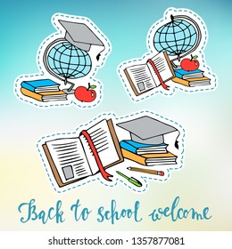 Back to school, colored bright stickers, vector. Items, school supplies, stationery for decorating labels, embroidery, portfolio pages or photo albums.