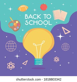 back to school colorful design with bulb light and related icons around over purple and blue background, vector illustration