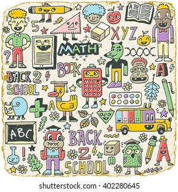 Back to school colorful doodle set 2. Hand drawn illustration. Vintage Texture.