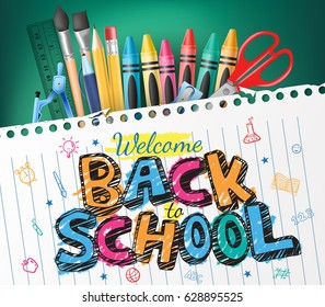 Back to School Colorful Text Drawn in a Piece of Paper with School Items. Vector Illustration