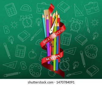 Back to school colorful ucrayons supplies Vector realistic. sale promotion banner. detailed 3d illustration