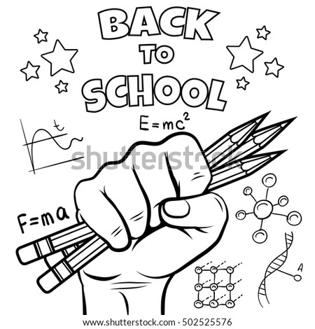 Back School Coloring Page Black Sketch Stock Vector Royalty Free