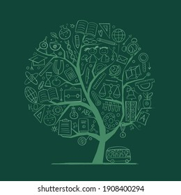 Back to School Concept. Art Tree for your design. Vector illustration