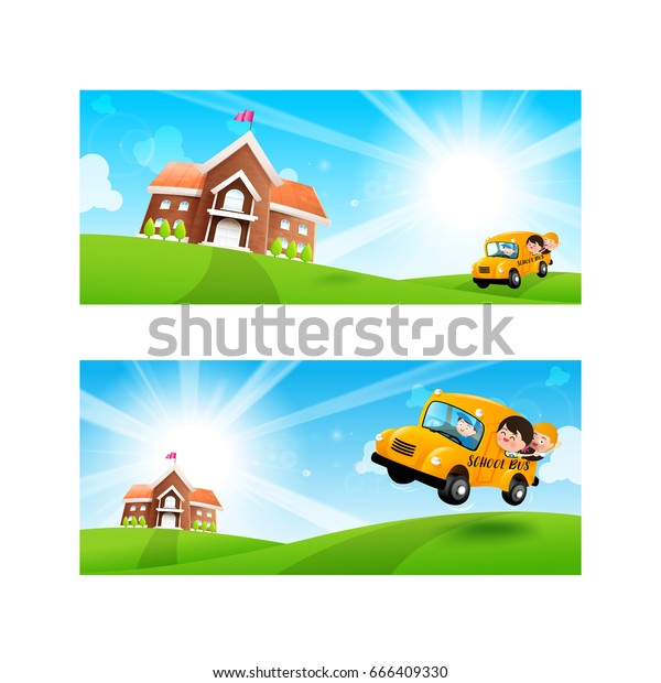 Back School Concept Blank Banner Template Stock Vector (Royalty Free