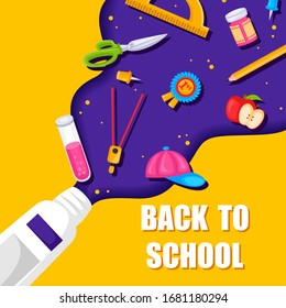 Back to School concept with book, pen, pencil and other stationery object in vector