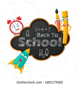 Back to School concept with chalkboard and other stationery object in vector