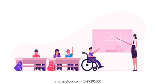 Back to School Concept with Children and Teacher. Young Woman and Disabled Boy in Wheelchair near Blackboard in Classroom. Kids in Class Lesson. Disability Education. Cartoon Flat Vector Illustration