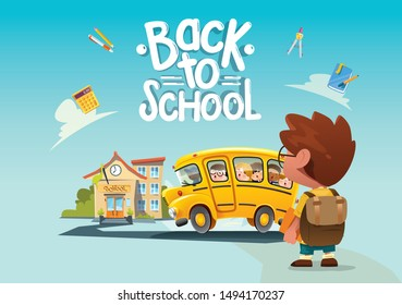 back to school concept design flyer with school bus  education items and space for text in a background. Vector illustration