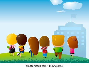 Back to school concept design of group student running on green grass with copy space vector illustration
