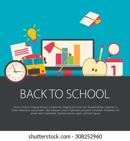 Back to school concept in flat design. School equipment, vector illustration.