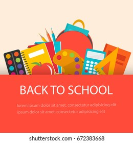 Back to school concept, flat design. Education supplies  background, vector illustration